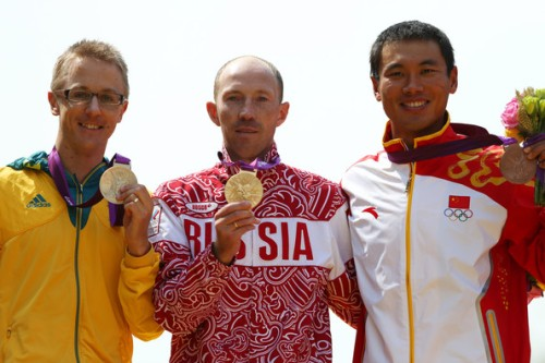 Jared Tallent of Australia, gold medalist Sergey Kirdyapkin of Russia and bronze medalist Tianfeng Si of China